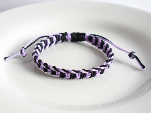 Two Colour Macrame Fishbone Knot Friendship Bracelet - Custom Colour